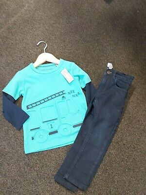 Blue Zoo Fantastic Boys Long Sleeved Top & Next Blue Skinny Jeans 18-24 Months