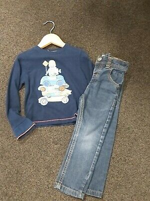 Ted Baker Fantastic Boys Long Sleeved Top & Next Blue Skinny Jeans 2-3 Years Vgc