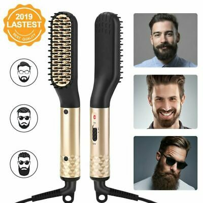 Beard Straightener Comb Quick Electric Heated Brush Styler For Men Travel Hair