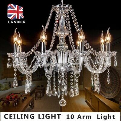 Crystal Chandelier Ceiling Light Clear Droplet Pendant Lamp 10 Arm Light Modern