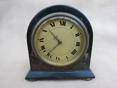 Antique Swiss Chinoiserie Cased Timepiece Mantel Clock For Spares Or Repair