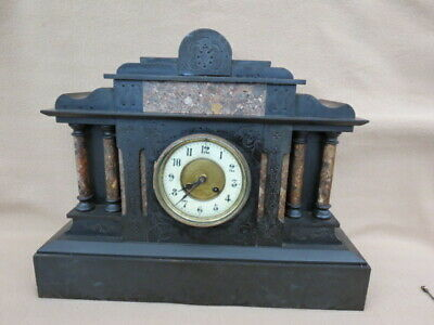 Large Antique French 8 Day Striking Black Slate Mantel Clock For Repair