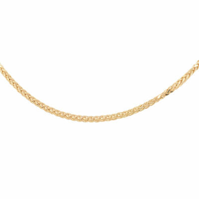 """TJC 9ct Yellow Gold Diamond Cut Spiga Chain Necklace for Women /& Girls Size 18/"""""""