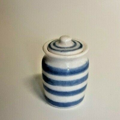 Handmade Dollhouse Miniature Blue And White Ceramic Jar With Lid