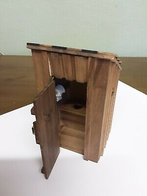 Dolls House Miniature Outside Toilet Outhouse Natural Wood Privy Outbuilding