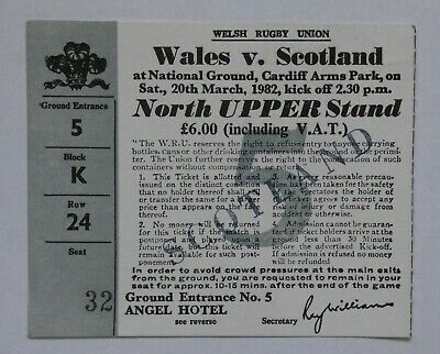 Wales Scotland  Rugby Union Ticket 1982