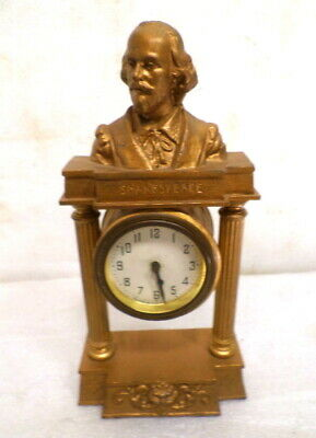 Nice American 1910 Shakespeare Bust Clock By New Haven