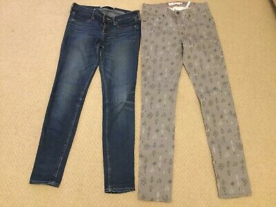 BNWT H & M LOGG Grey Geometric Jeans & Hollister Denim Jeans, age 13/14 yrs