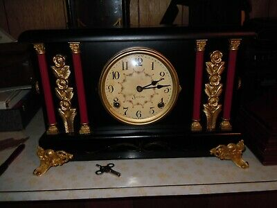 Beautiful Antique Sessions 8 Day Mantle Clock Serviced & Running Beautiful Dial
