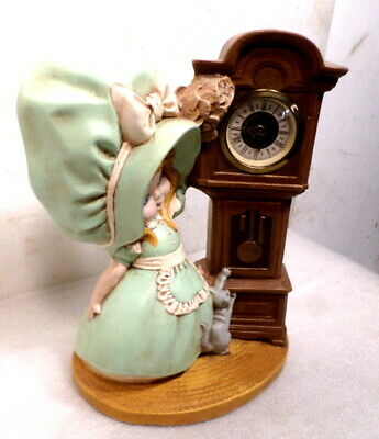"""Ceramic Young Lass With Her Cat & Signed """"Narco"""" Grandfather Clock--Circa 1960's"""