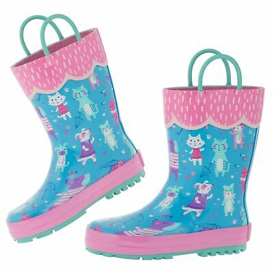 Stephen Joseph Baby Girls' Toddler Kids All Over Print Rain Boots, Cats and Dogs