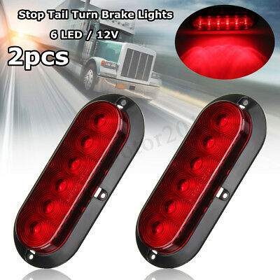 2pcs 6'' Oval Trailer Truck Red 6 LED Surface Mount Stop Tail Turn Brake