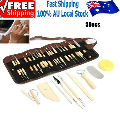 30pcs Wooden Ceramic & Clay Sculpting Pottery Art Tools Kit with bag AU