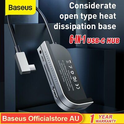 Baseus 6in1 Type C HUB Adapter SD TF HDMI USB 3.0 HUB for iPad Pro Mac Laptop