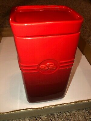 Le Creuset Cherry Red Cerise Stoneware Tall Kitchen Coffee Ground Canister