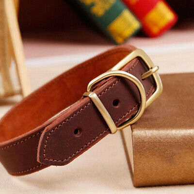 Soft Leather Hand Made Brown Rolled Dog Collar Training Strong Puppy Pet I9X