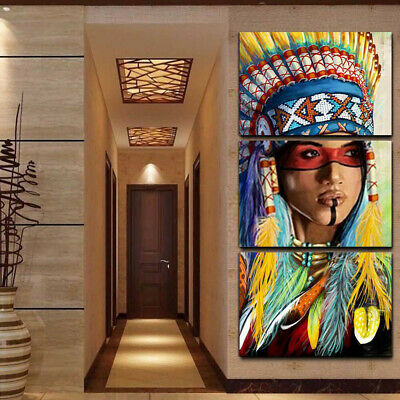 3Pcs Indian Woman Abstract Canvas Art Painting Picture Home Decor Wall
