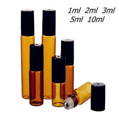Travel Portable Perfume Roller Ball Amber Container Empty Essential Oil Bottle