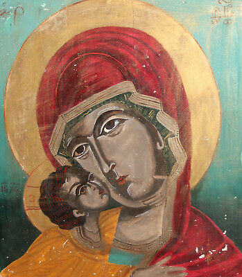 Orthodox Hand Painted Tempera/Wood Icon Jesus Christ & The Virgin