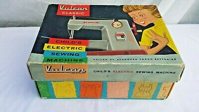 Vintage Toy Vulcan Classic Child's Electric Sewing Machine With Original Box.