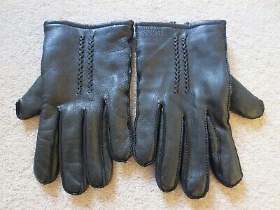 Hugo Boss Mens Butter Soft Black Leather Fleece Lined Gloves - Size S/M