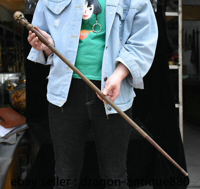 """34.8"""" Collect Rare Old Chinese Bronze Skull Skeleton Head crutch walking stick"""