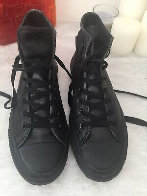 Converse Black All Star Leather Hi-Top Boots Trainers Shoes Uk Sz 9 VGC