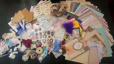Craft Clearout Joblot. Card, Paper, Ribbon Embellishments etc