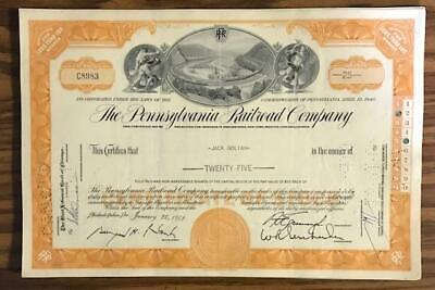 Pennsylvania Railroad Company Stock Certificate Foreign Stamp Amsterdam Tax