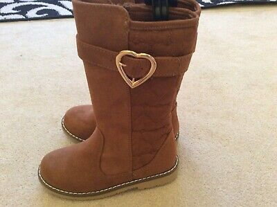 BNWOT Girls Infant Long Tan Boots - Size 10 Faux Suede Gold Heart Buckle