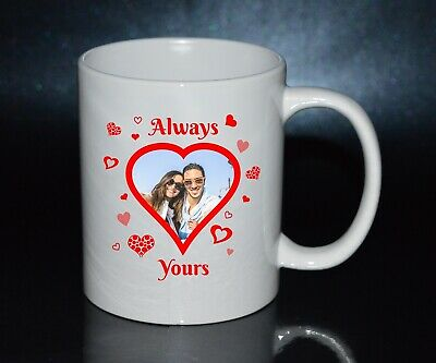 Valentines love present gift - Personalised heart Custom Mug Your Photo picture