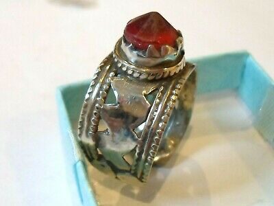 Special Offer, Detector Find & Polished,Post Medieval Silver Ring With Red Stone