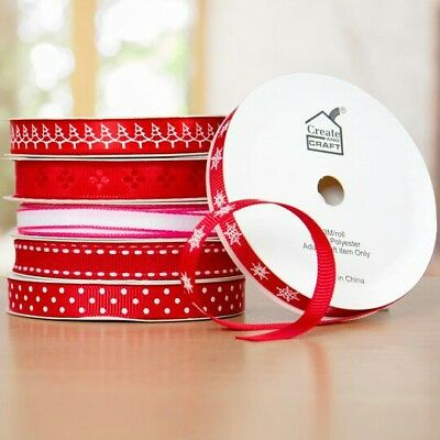 6 Christmas Red Ribbons 6 rolls x 3metres each