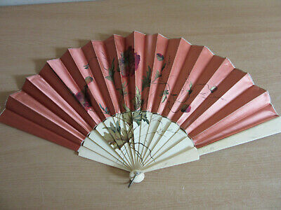 Antique Victorian Cow Bone Folding Hand Fan with hand painted floral Satin 24""