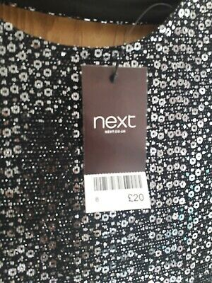 Ladies Sparkly Top Size 10 Next New Black Short Sleeve New