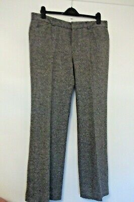 M&S Black Mix/Grey Wool Blend With Cashmere Womens Trousers, Size 20