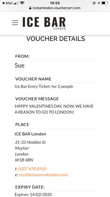 London Ice Bar Voucher For Two Valid Until 14 February 2020