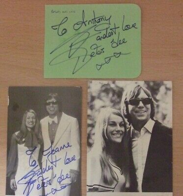 2 Peters and Lee autographed photos + page from a book with actual autographs