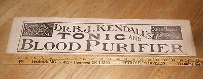 c1895 Antique Medical Advertising Sign Dr. B J Kendall's Tonic & Blood Purifier