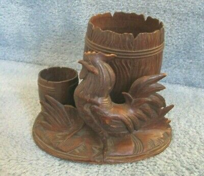 Antique French Black Forest Hand Carved Wooden Match & Cigar Holder Rooster