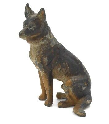 Vintage German Shepherd Dog Metal Figurine Antique Toy
