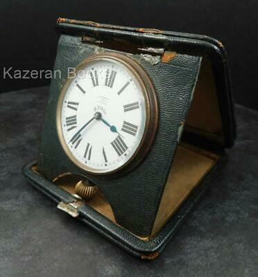 Antique Asprey 8 Day Art Deco Calotte Portfolio Travel Clock Watch Working