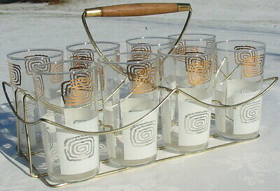 Vtg Frosted Deco Gold Squiggle Tumbler Cocktail Glass Caddy Carrier Bar Set MCM