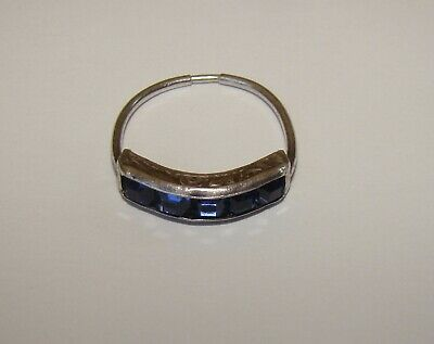 Antique H & S Sterling Ring with blue Stones ( sapphire glass?) size 7