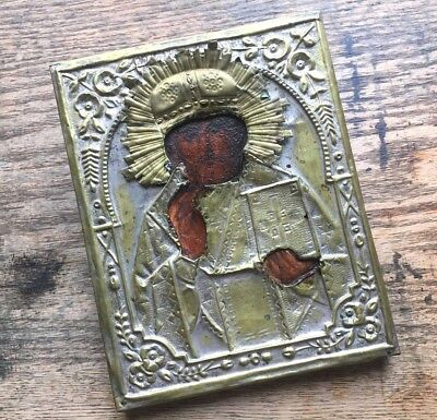 Classic Imperial RUSSIAN ORTHODOX ICON Saint Nicholas ANTIQUE CHRISTIAN Religio