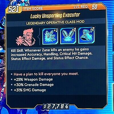 [PS4] Borderlands 3 - Zane God Roll Lucky Unsporting Executor (+Grenade/+SMG)