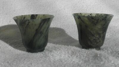antique carved spinach jade small  cups