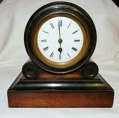 ANTIQUE 19th CENTURY 726 MANTLE CLOCK WITH PORCELAIN ENALEM DIAL GERMAN AMERICAN