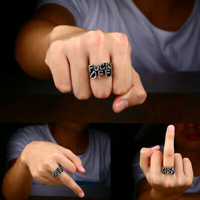 Men's Stainless Steel Letter Cool Gothic Punk Biker Finger Rings Jewelry