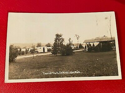 1945 Postcard Tourist Park in Central Lake, Michigan Campground Trailers